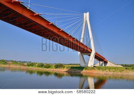 Big Red And White Bridge Through The River Oka