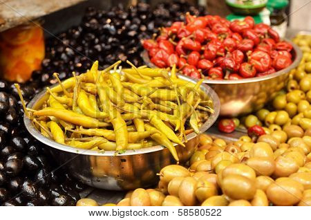 Assortment Of Olives, Pickles And Salads