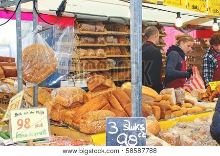 Sale Of Bakery Products On The Market  In Delft, Netherlands
