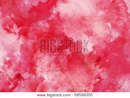 Bright Red Watercolor Background.