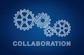 stock photo of mechanical drawing  - Collaboration Concept - JPG