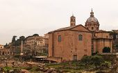 Curia Iulia And The Dome Of The Santi Luca E Martina, Rome