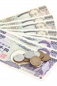 foto of japanese coin  - close up Japanese currency notes and japanese yen coin - JPG