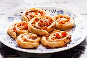 picture of slug  - Small Pizza slugs on a plate with puff pastry - JPG