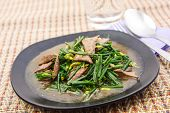 image of liver fry  - Stir fried pork liver with vegetable for meal - JPG