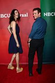 Joanne Kelly, Eddie McClintock at the 2013 NBC Universal Summer Press Day , Langham Huntington Hotel