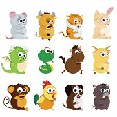 foto of chinese zodiac animals  - vector set of cute Chinese zodiac animals - JPG