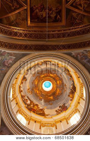 MDINA, MALTA - MAY 9 2014 : The magnificent dome lets light into St Pauls Cathedral basilica.