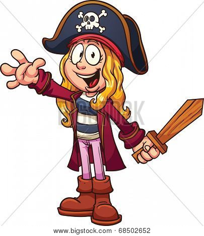 Cartoon pirate girl. Vector clip art illustration with simple gradients. All in a single layer.