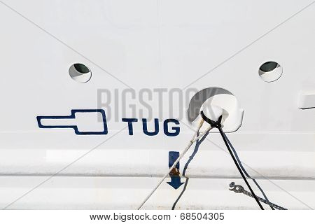 Tug Sign On A White Ships Hull