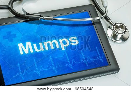 Tablet with the diagnosis Mumps on the display