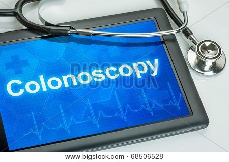 Tablet with the text Colonoscopy on the display