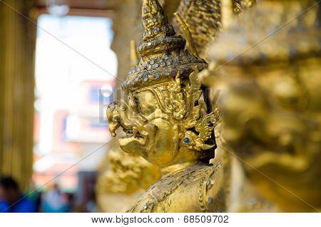 Close Up  Face Of Garuda Decoration On Chapel Base At Grand Palace, Royal Temple Of  Wat Phrakaew Bu