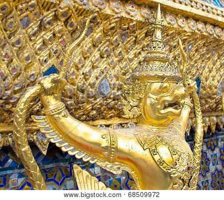 The Golden Garuda Statues Side View At Grand Palace Or Temple Of The Emerald Buddha