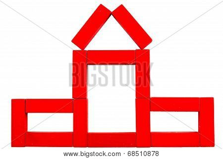 Red House Made Of Wooden Toy