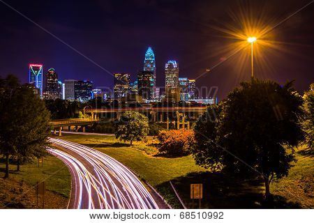 View Of The Charlotte Skyline From The Central Avenue Bridge, In Charlotte, North Carolina.