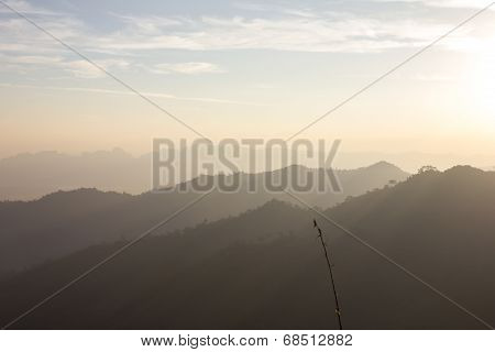 Sunrise And Silhouette Mountain At Thong Pha Phum National Park