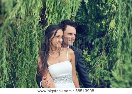 Romantic fashionable young couple under a weeping willow holding each other close as they stand watching something off frame to the right with happy smiles