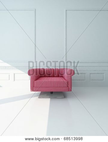 Single pink armchair in a white paneled room with stark white floor standing at the edge of a patch of sunlight centered in the frame