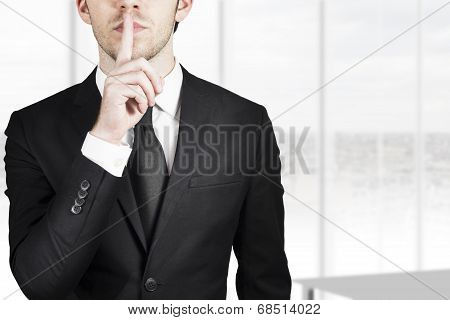 Businessman Silent Quiet Gesture