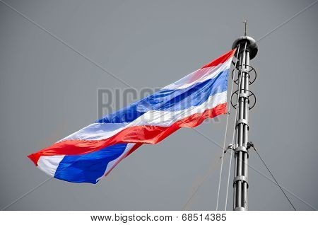 Thailand Flag  On Black And Whie Background