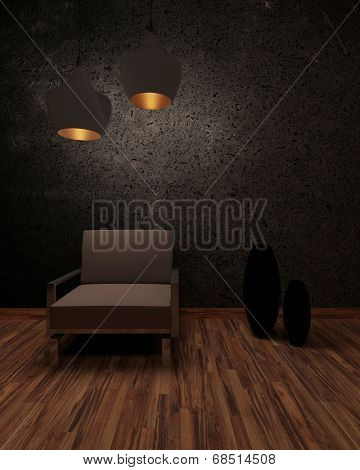 Shadowy interior with a brown armchair under two illuminated hanging lamps in front of a dark textured wall with ornamental vases on a parquet floor