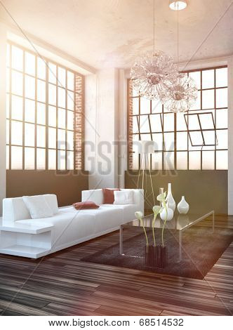 Bright sun filled living room interior with lens flare effect and a modern white sofa, coffee table and ornamental vases on a wooden parquet floor below huge cottage pane windows