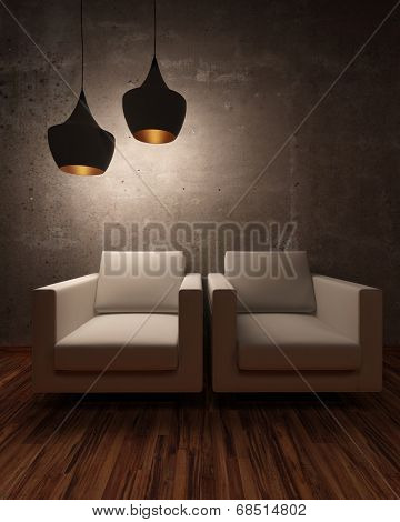 Two white chairs illuminated at night by two modern hanging lights in a shadowny room
