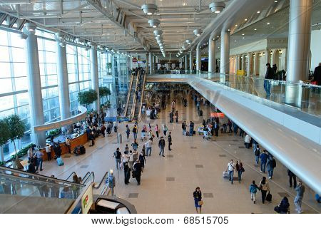 MOSCOW - APRIL 19: Domodedovo airport interior on April 19, 2014 in Moscow. Domodedovo International Airport is one of the three major airports that serve Moscow