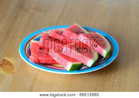 Sliced Watermelon On Plate