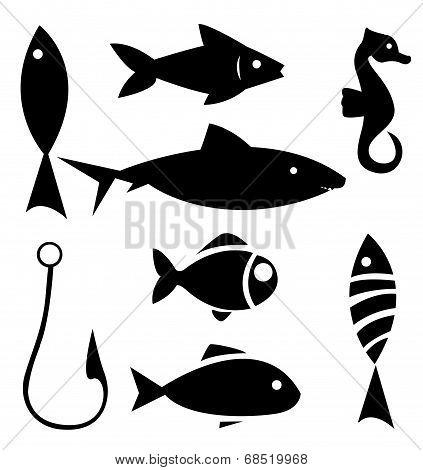 Set of sea animal and fishing icons
