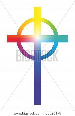 Christian Cross Rainbow Gradient