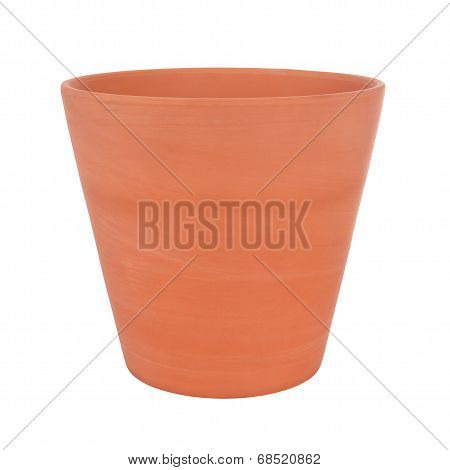 Side of clay pot on white background.