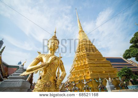 Golden Angle At Wat Phra Kaeo, Temple Of The Emerald Buddha And The Home Of The Thai King.