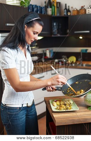 Young Woman Serve Food