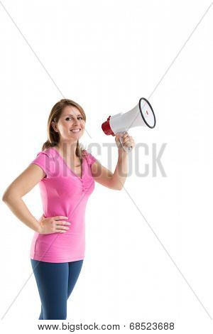 Portrait of a smiling young woman holding bullhorn over white background
