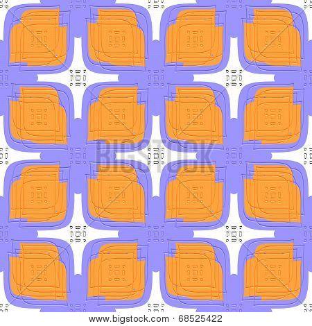 Embossed Linear Leaves Purple And Orange Seamless