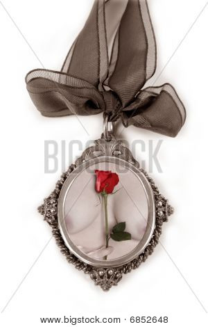 Cameo Silver Locket With Valentines Red Rose
