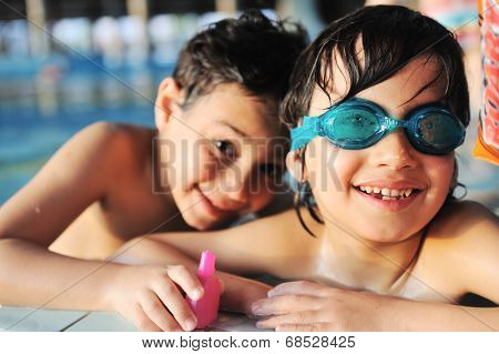 Two kids in pool