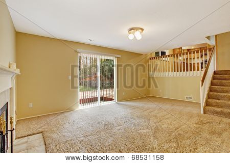 Empty House Interior. Living Room With Walkout Deck