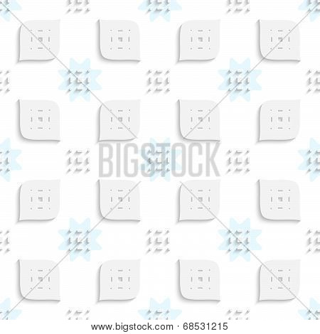 White Small Rectangle Gropes And Perforated Leaves Seamless