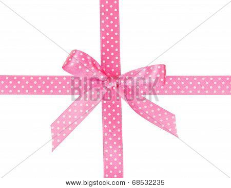 Pink ribbon with bow