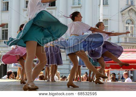 ZAGREB, CROATIA - JULY 16: Members of folk group Edmonton (Alberta), Ukrainian dancers Viter from Canada during the 48th International Folklore Festival in center of Zagreb,Croatia on July 16, 2014
