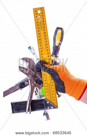 Set Of Tools In Male Hand