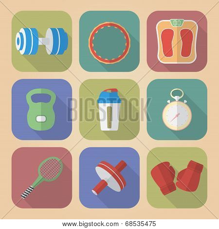 Set Of Fitnes Icons. Modern Flat Style