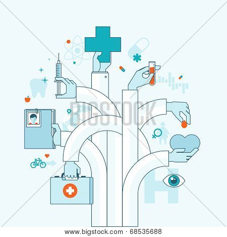 Flat design vector illustration concept on medicine theme