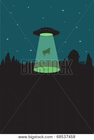 1950s Alien Flying Saucer beams up a cow at night