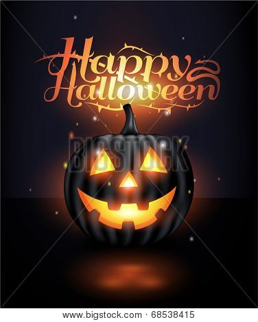 Dark Vector jack-o-lantern Halloween background