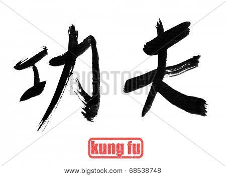 Chinese calligraphy, kung fu, isolated on white background.
