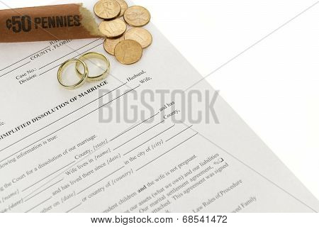 Divorce Form With Pennies Roll And Double Wedding Rings